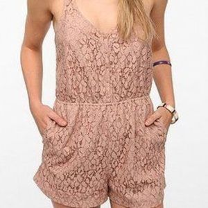 Urban Outifitters Cooperative Pink Lace Romper
